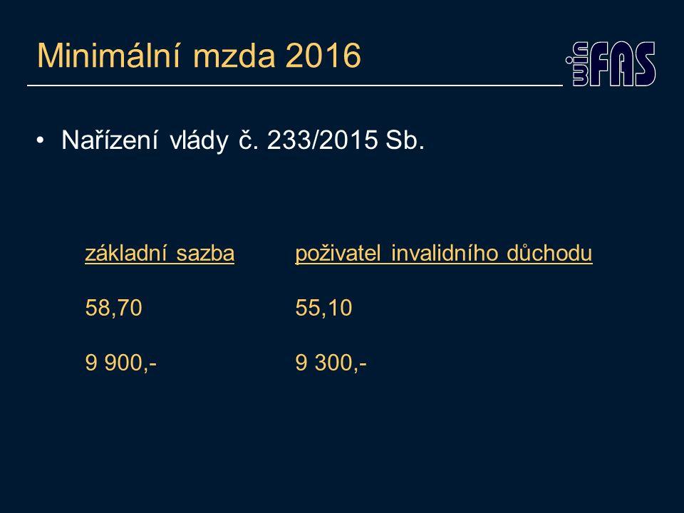 Minimální mzda 2016 Nařízení vlády č. 233/2015 Sb. základní sazba 58,70 9 900,- poživatel invalidního důchodu 55,10 9 300,-