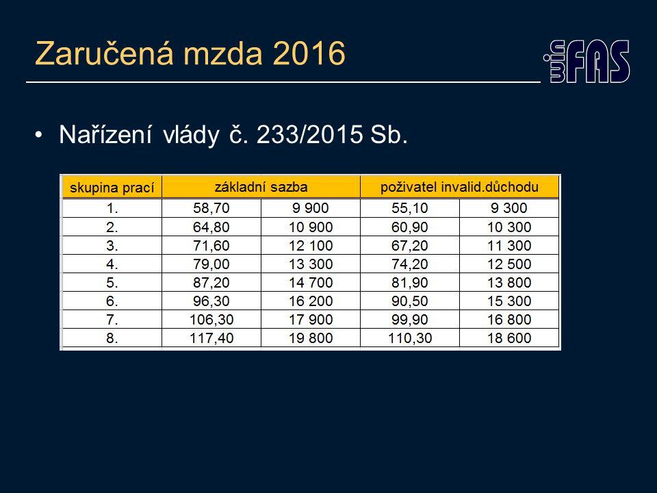 Zaručená mzda 2016 Nařízení vlády č. 233/2015 Sb.