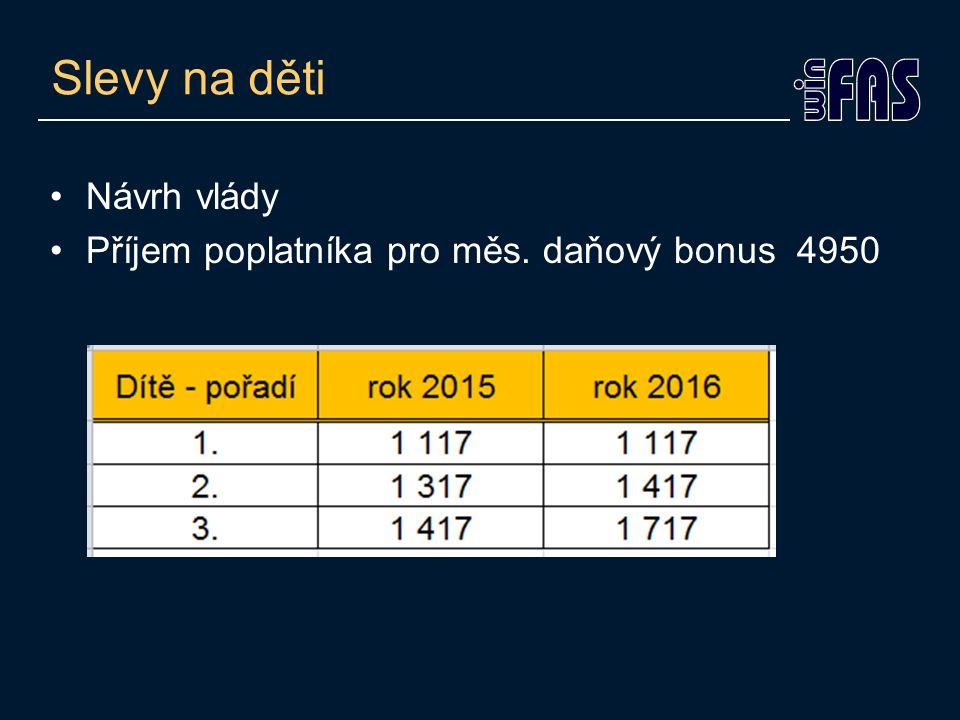 Slevy na děti Návrh vlády Příjem poplatníka pro měs. daňový bonus 4950