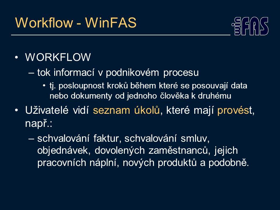 Workflow - WinFAS WORKFLOW –tok informací v podnikovém procesu tj. posloupnost kroků během které se posouvají data nebo dokumenty od jednoho člověka k