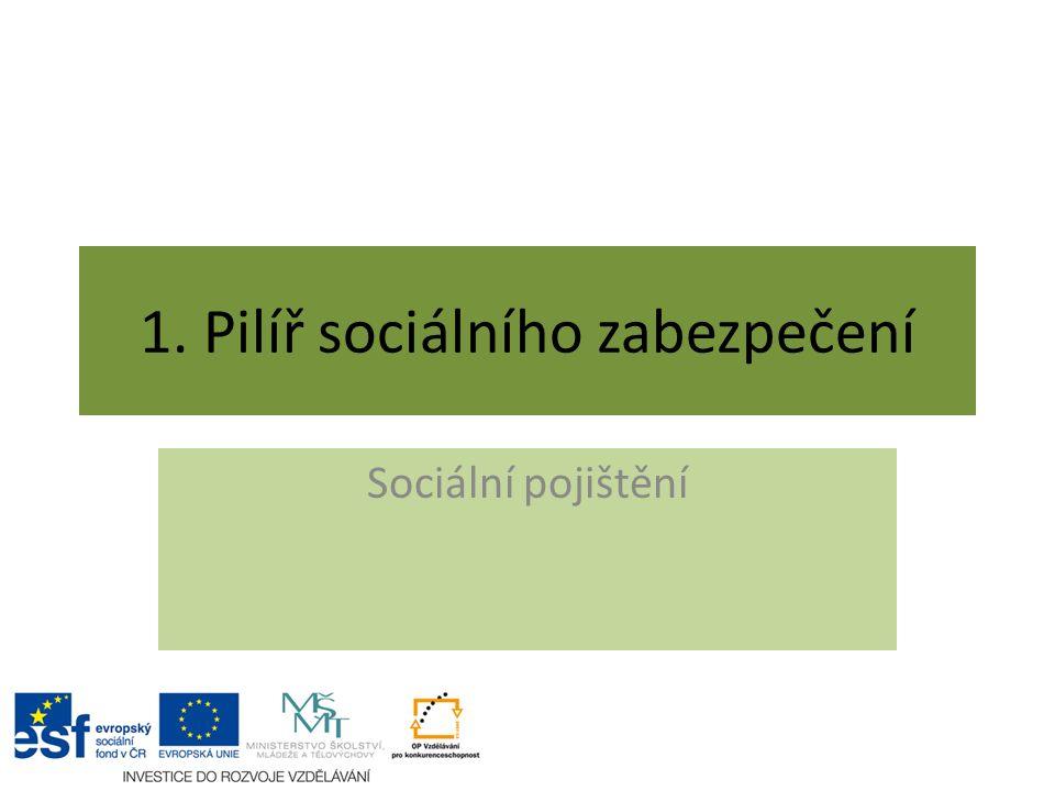 1. Pilíř sociálního zabezpečení Sociální pojištění