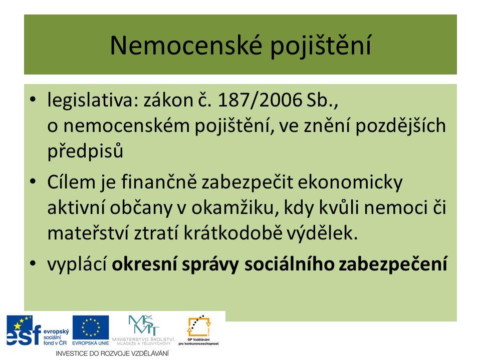 Nemocenské pojištění legislativa: zákon č. 187/2006 Sb., o nemocenském pojištění, ve znění pozdějších předpisů Cílem je finančně zabezpečit ekonomicky