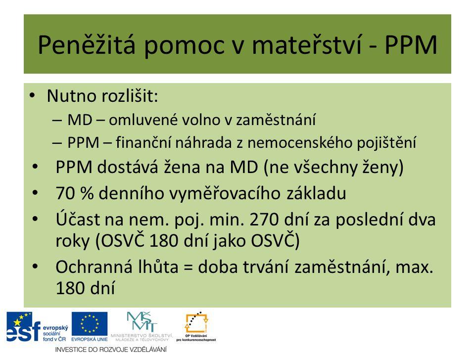 Peněžitá pomoc v mateřství - PPM Nutno rozlišit: – MD – omluvené volno v zaměstnání – PPM – finanční náhrada z nemocenského pojištění PPM dostává žena