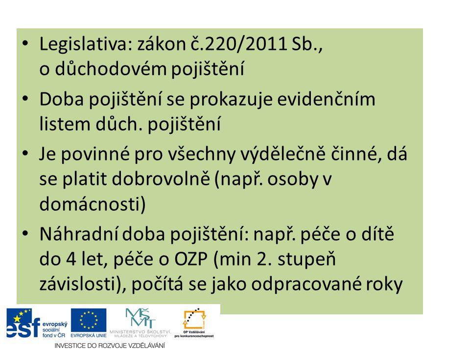 Legislativa: zákon č.220/2011 Sb., o důchodovém pojištění Doba pojištění se prokazuje evidenčním listem důch. pojištění Je povinné pro všechny výděleč