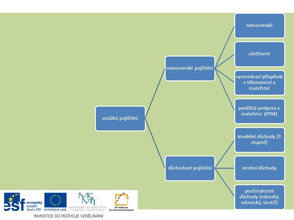 Užší pojetí 1. pilíře sociální pojištěnínemocenské pojištěnínemocenskéošetřovné vyrovnávací příspěvek v těhotenství a mateřství peněžitá podpora v mat