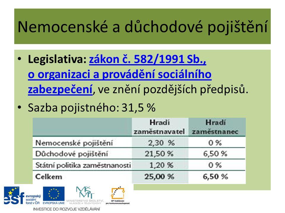 Nemocenské a důchodové pojištění Legislativa: zákon č. 582/1991 Sb., o organizaci a provádění sociálního zabezpečení, ve znění pozdějších předpisů.zák