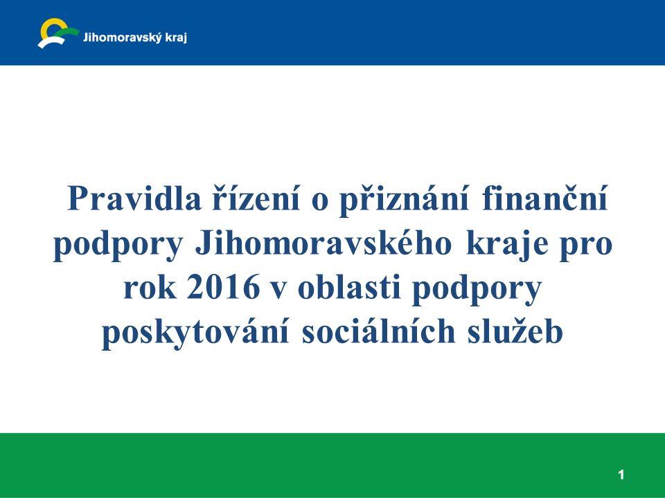 Harmonogram 2015 Červen – schválení Pravidel Zastupitelstvem JMK Září – vyhlášení řízení o přiznání finanční podpory pro rok 2016 Pravděpodobně konec října – začátek listopadu počátek sběru žádostí (nelze zahájit sběr žádostí dříve, neboť v souladu se zákonem 250/2000 Sb., o rozpočtových pravidlech územních rozpočtů, se nejpozději 30 dnů před počátkem lhůty zveřejní dotační program na úřední desce).