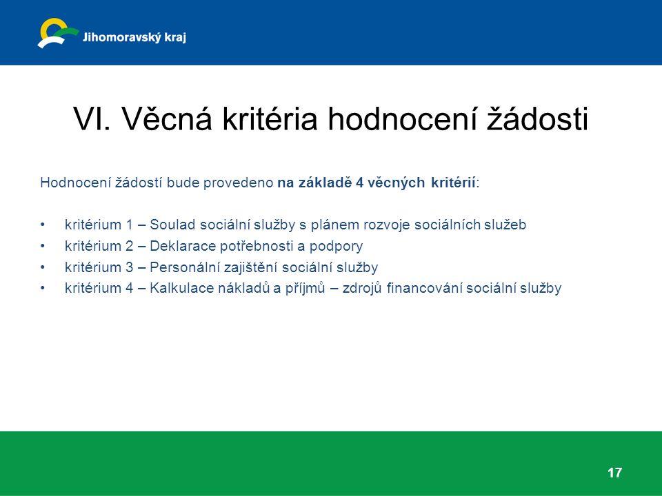 VI. Věcná kritéria hodnocení žádosti Hodnocení žádostí bude provedeno na základě 4 věcných kritérií: kritérium 1 – Soulad sociální služby s plánem roz