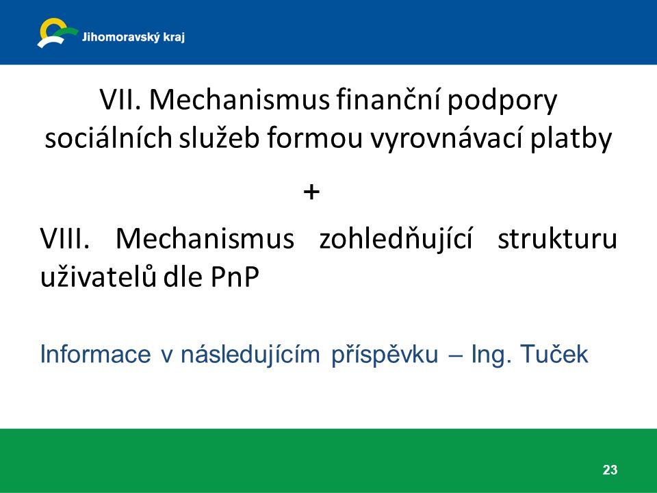 VII. Mechanismus finanční podpory sociálních služeb formou vyrovnávací platby + VIII.