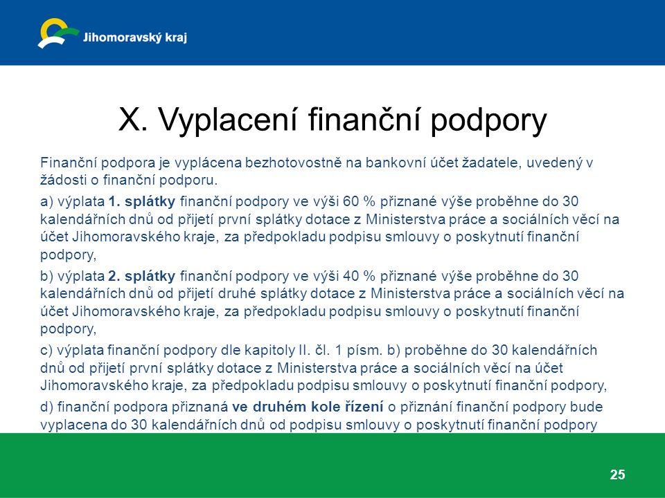 X. Vyplacení finanční podpory Finanční podpora je vyplácena bezhotovostně na bankovní účet žadatele, uvedený v žádosti o finanční podporu. a) výplata