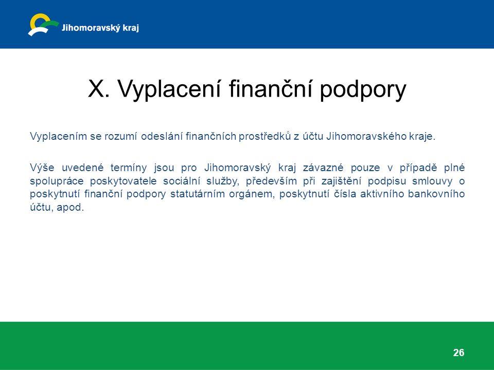 X. Vyplacení finanční podpory Vyplacením se rozumí odeslání finančních prostředků z účtu Jihomoravského kraje. Výše uvedené termíny jsou pro Jihomorav