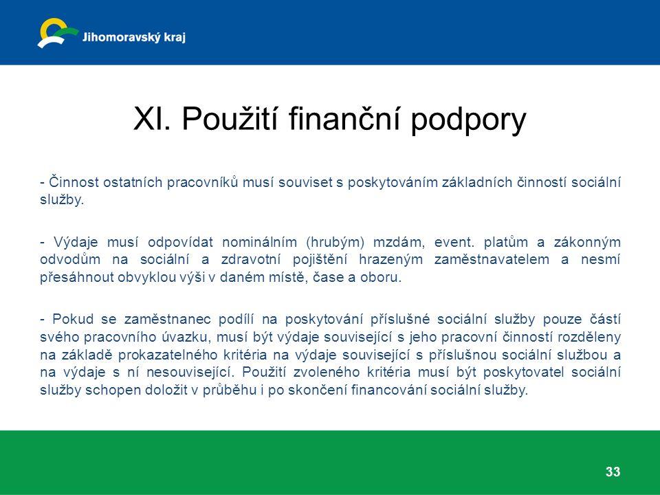 XI. Použití finanční podpory - Činnost ostatních pracovníků musí souviset s poskytováním základních činností sociální služby. - Výdaje musí odpovídat