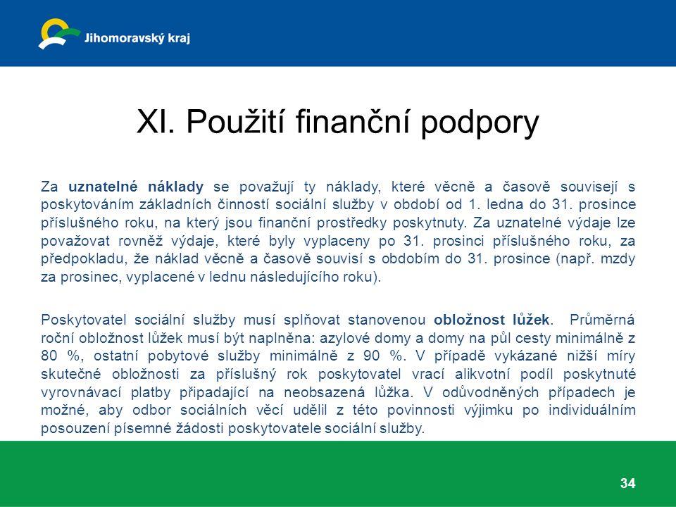 XI. Použití finanční podpory Za uznatelné náklady se považují ty náklady, které věcně a časově souvisejí s poskytováním základních činností sociální s