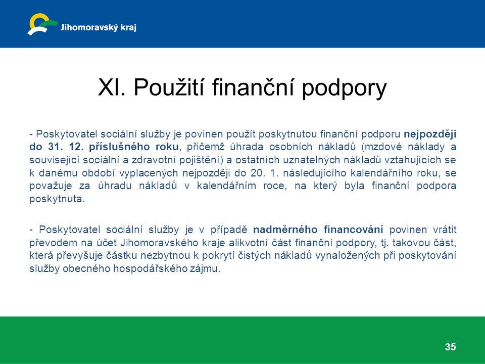 XI. Použití finanční podpory - Poskytovatel sociální služby je povinen použít poskytnutou finanční podporu nejpozději do 31. 12. příslušného roku, při