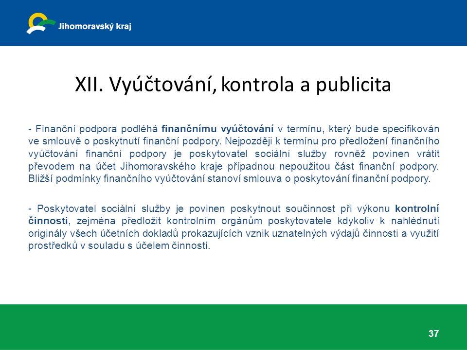 XII. Vyúčtování, kontrola a publicita - Finanční podpora podléhá finančnímu vyúčtování v termínu, který bude specifikován ve smlouvě o poskytnutí fina