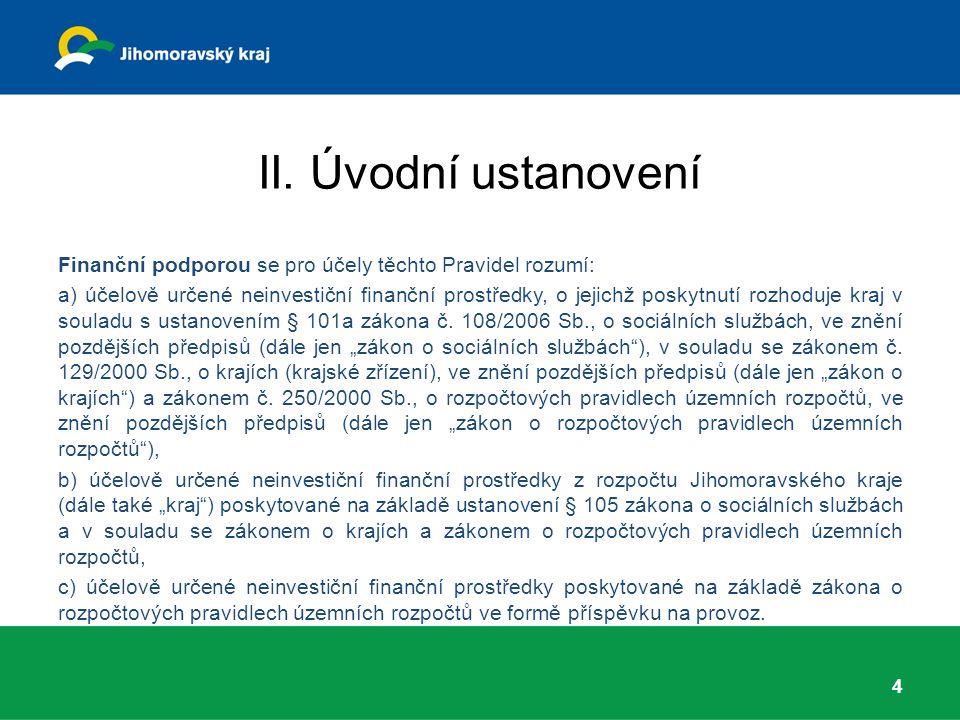 II. Úvodní ustanovení Finanční podporou se pro účely těchto Pravidel rozumí: a) účelově určené neinvestiční finanční prostředky, o jejichž poskytnutí