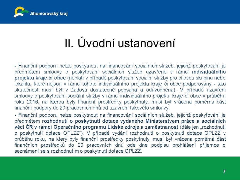 II. Úvodní ustanovení - Finanční podporu nelze poskytnout na financování sociálních služeb, jejichž poskytování je předmětem smlouvy o poskytování soc
