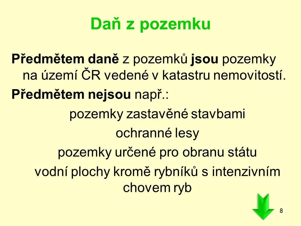 Daň z pozemku Předmětem daně z pozemků jsou pozemky na území ČR vedené v katastru nemovitostí. Předmětem nejsou např.: pozemky zastavěné stavbami ochr