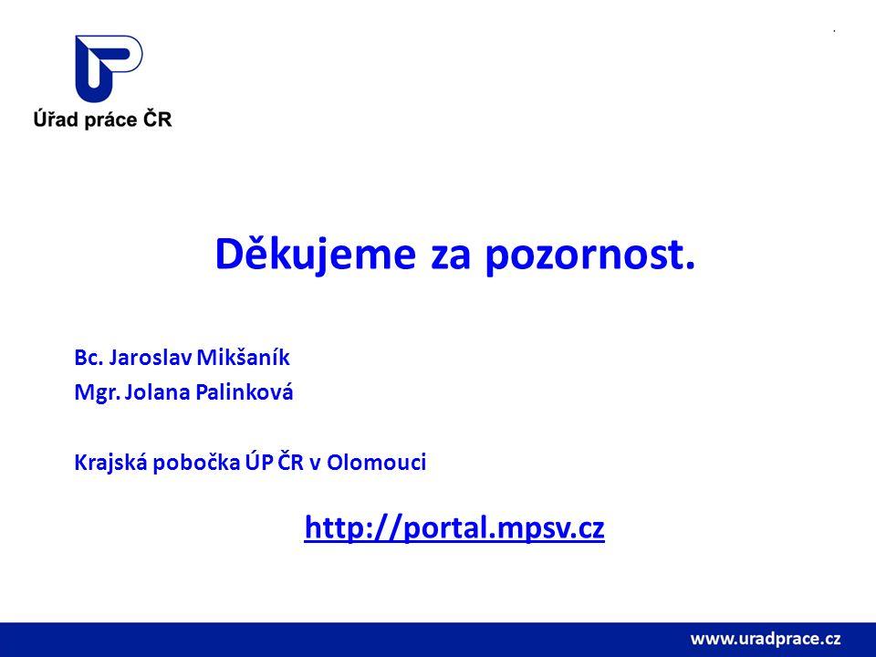 . Děkujeme za pozornost. Bc. Jaroslav Mikšaník Mgr. Jolana Palinková Krajská pobočka ÚP ČR v Olomouci http://portal.mpsv.cz