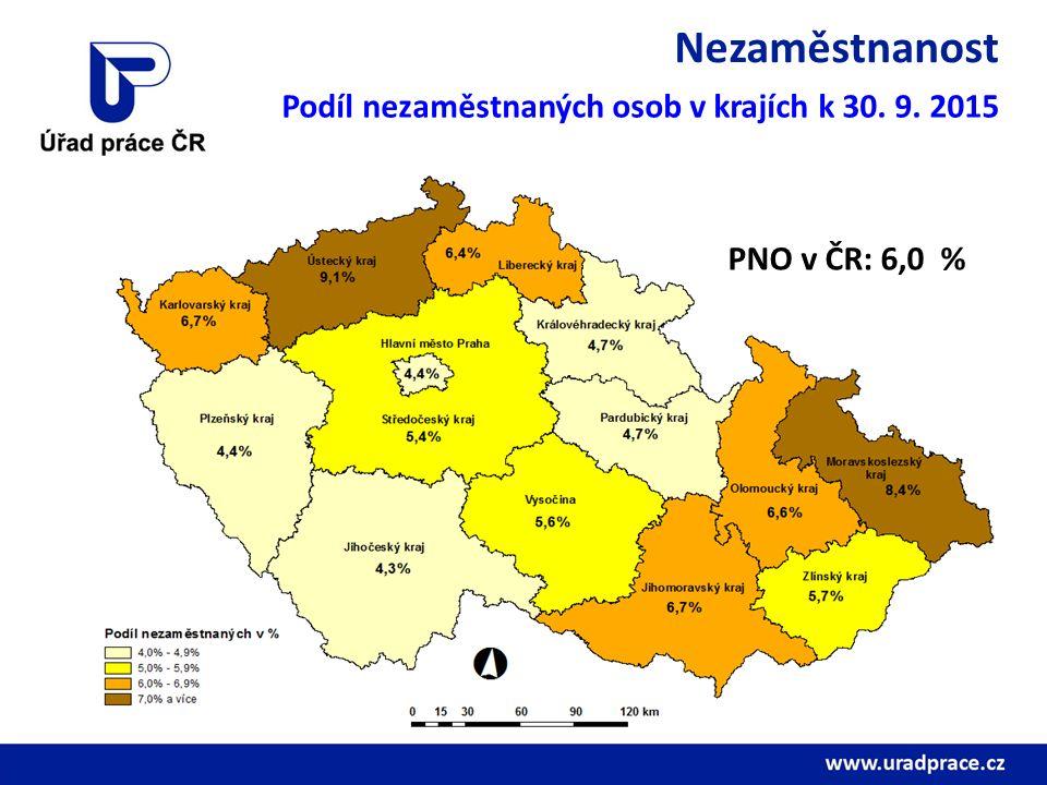Nezaměstnanost Podíl nezaměstnaných osob v krajích k 30. 9. 2015 PNO v ČR: 6,0 %