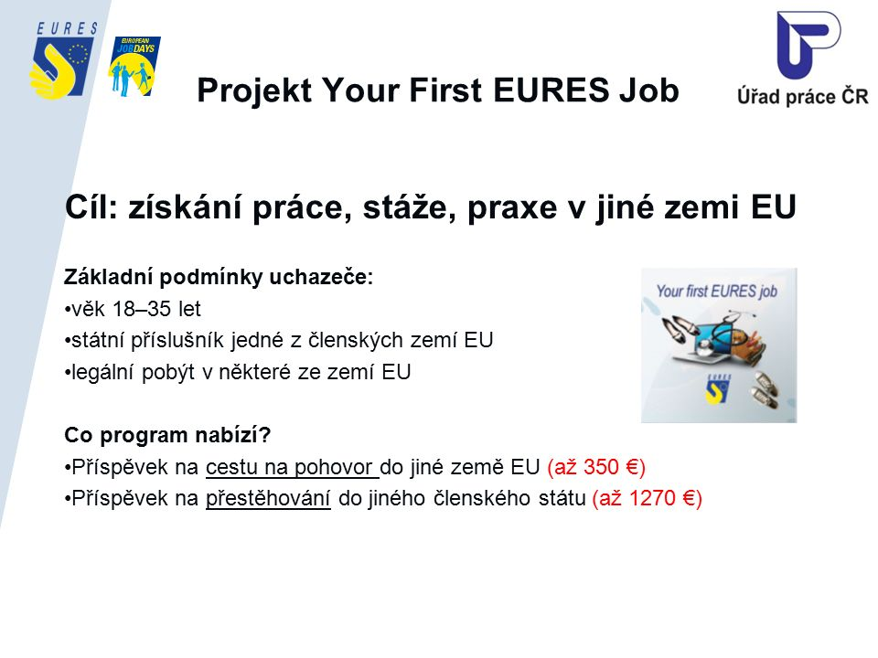 Projekt Your First EURES Job Cíl: získání práce, stáže, praxe v jiné zemi EU Základní podmínky uchazeče: věk 18–35 let státní příslušník jedné z členských zemí EU legální pobýt v některé ze zemí EU Co program nabízí.