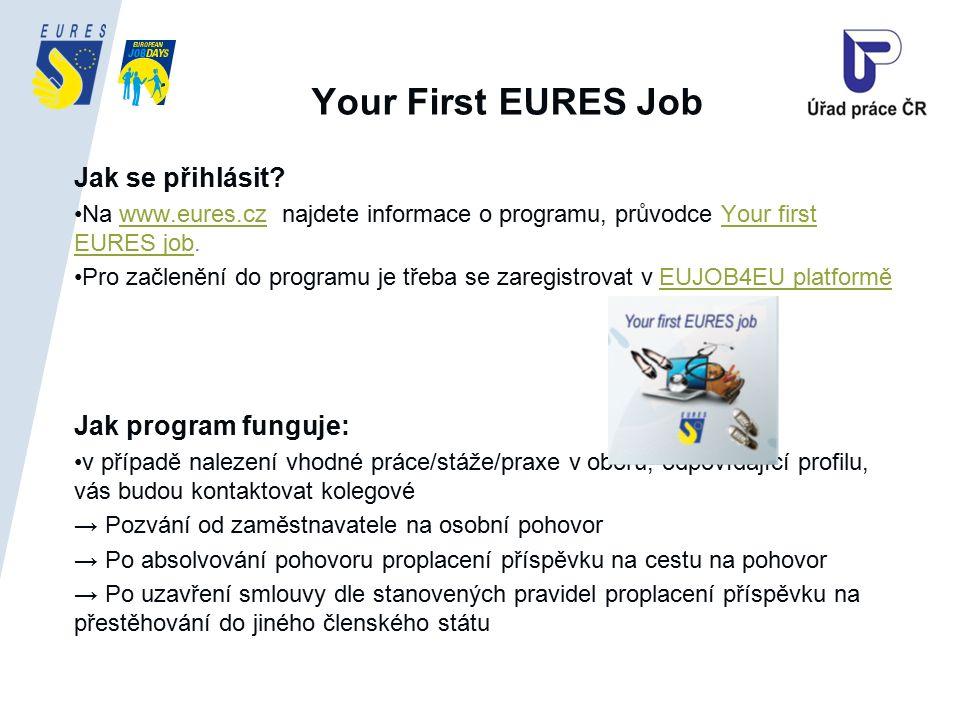 Your First EURES Job Jak se přihlásit? Na www.eures.cz najdete informace o programu, průvodce Your first EURES job.www.eures.czYour first EURES job Pr