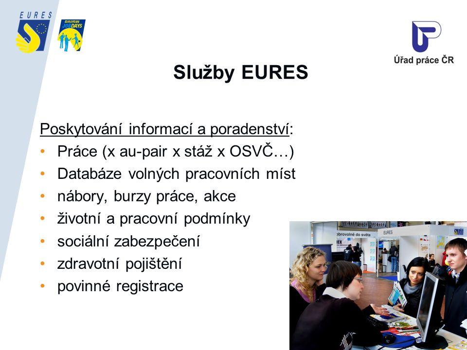 Služby EURES Poskytování informací a poradenství: Práce (x au-pair x stáž x OSVČ…) Databáze volných pracovních míst nábory, burzy práce, akce životní a pracovní podmínky sociální zabezpečení zdravotní pojištění povinné registrace