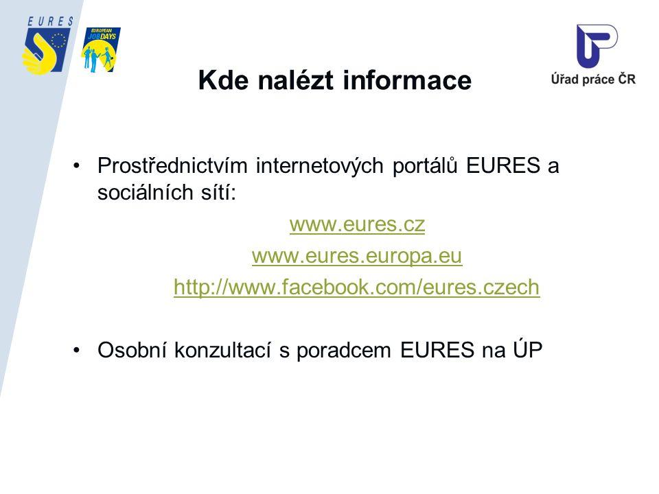 Kde nalézt informace Prostřednictvím internetových portálů EURES a sociálních sítí: www.eures.cz www.eures.europa.eu http://www.facebook.com/eures.czech Osobní konzultací s poradcem EURES na ÚP