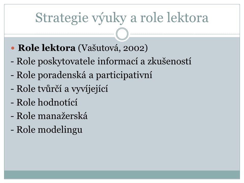 Strategie výuky a role lektora Role lektora (Vašutová, 2002) - Role poskytovatele informací a zkušeností - Role poradenská a participativní - Role tvůrčí a vyvíjející - Role hodnotící - Role manažerská - Role modelingu