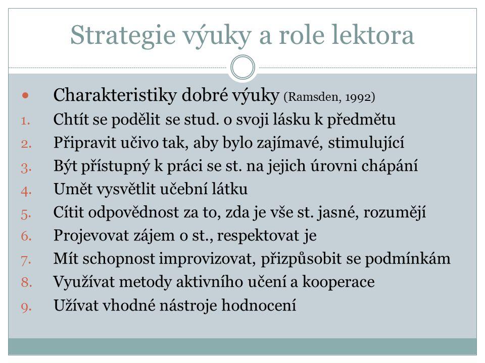 Strategie výuky a role lektora Charakteristiky dobré výuky (Ramsden, 1992) 1.