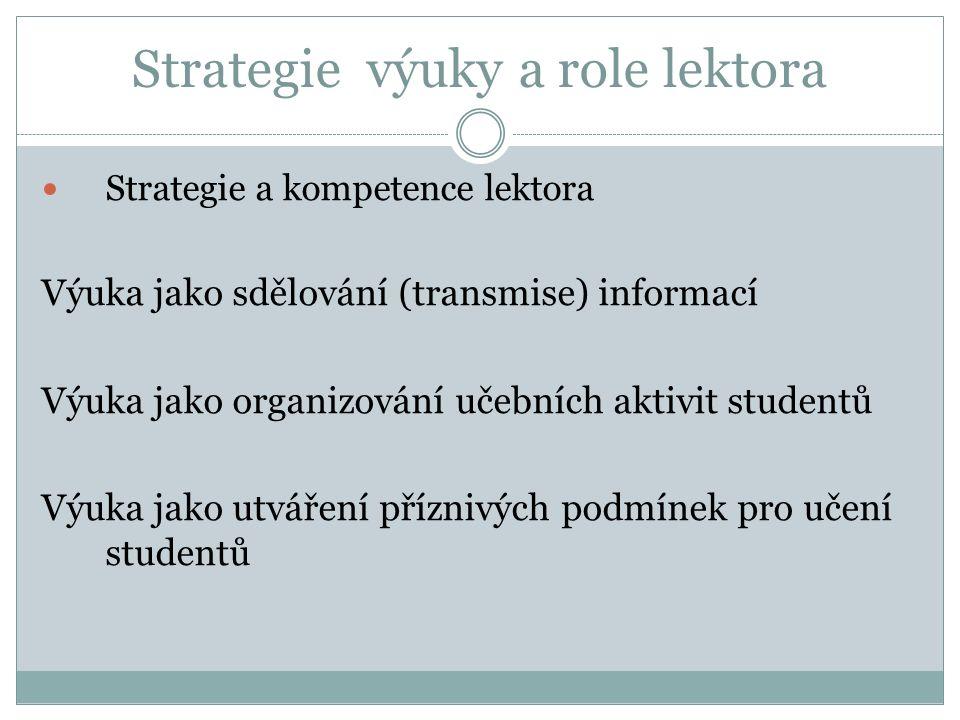 Strategie výuky a role lektora Strategie a kompetence lektora Výuka jako sdělování (transmise) informací Výuka jako organizování učebních aktivit studentů Výuka jako utváření příznivých podmínek pro učení studentů