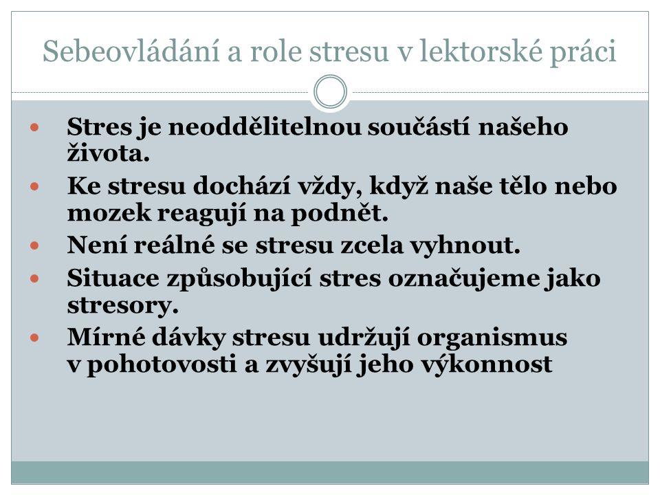 Sebeovládání a role stresu v lektorské práci Stres je neoddělitelnou součástí našeho života.