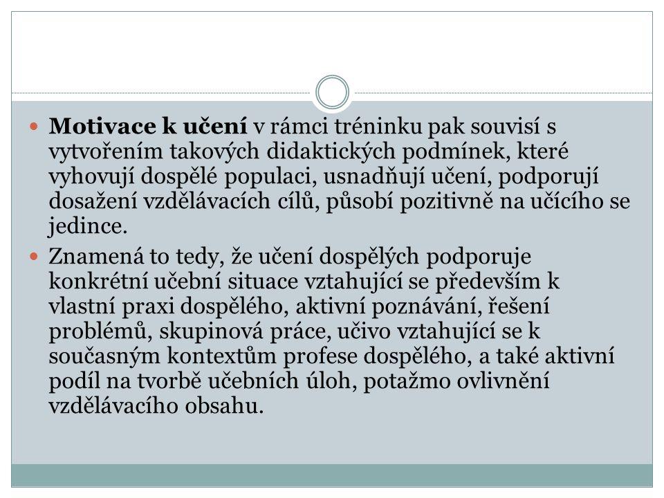 MODEL MOTIVACE DOSPĚLÝCH K UČENÍ ( M. Borák, In Vašutová 2002)