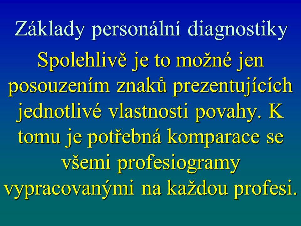 Základy personální diagnostiky Spolehlivě je to možné jen posouzením znaků prezentujících jednotlivé vlastnosti povahy. K tomu je potřebná komparace s