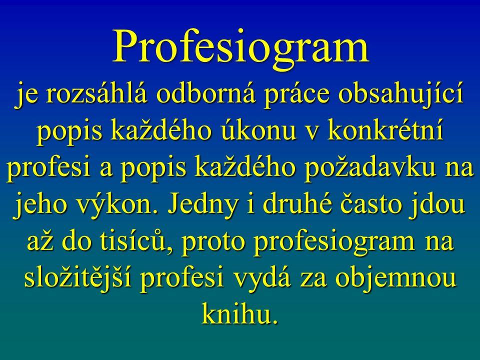 Profesiogram je rozsáhlá odborná práce obsahující popis každého úkonu v konkrétní profesi a popis každého požadavku na jeho výkon. Jedny i druhé často