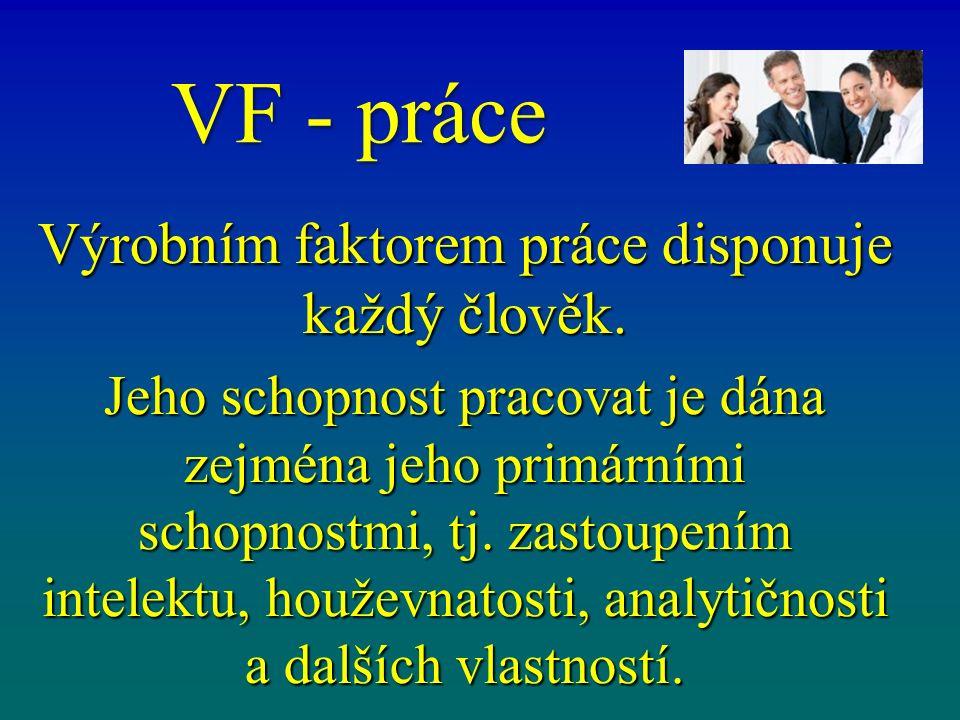 VF - práce Výrobním faktorem práce disponuje každý člověk.