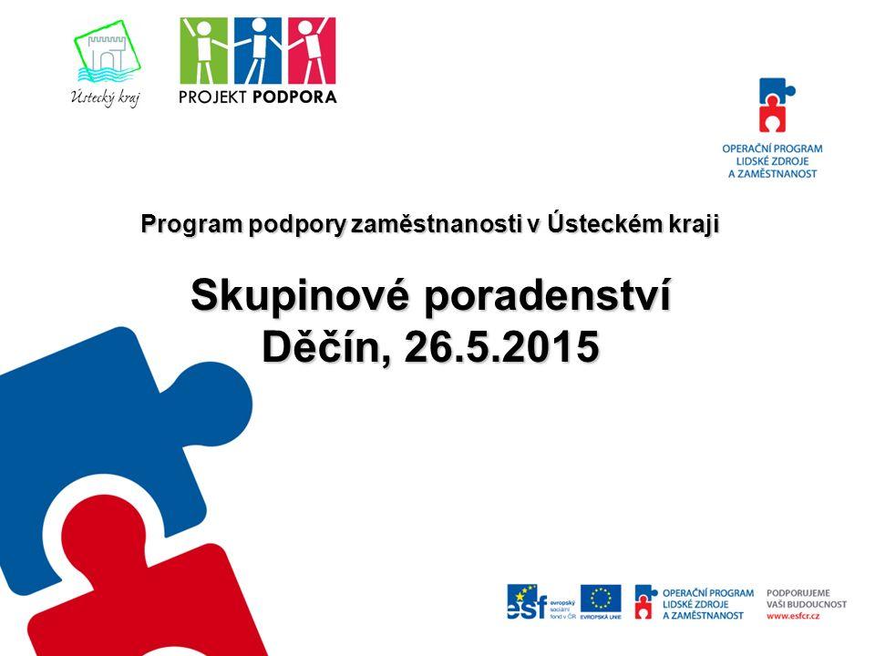 Program podpory zaměstnanosti v Ústeckém kraji Skupinové poradenství Děčín, 26.5.2015