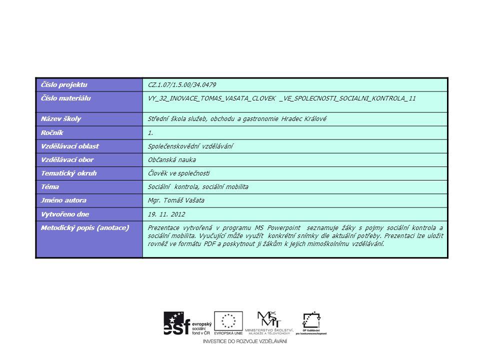 Číslo projektuCZ.1.07/1.5.00/34.0479 Číslo materiáluVY_32_INOVACE_TOMAS_VASATA_CLOVEK _VE_SPOLECNOSTI_SOCIALNI_KONTROLA_11 Název školyStřední škola služeb, obchodu a gastronomie Hradec Králové Ročník1.