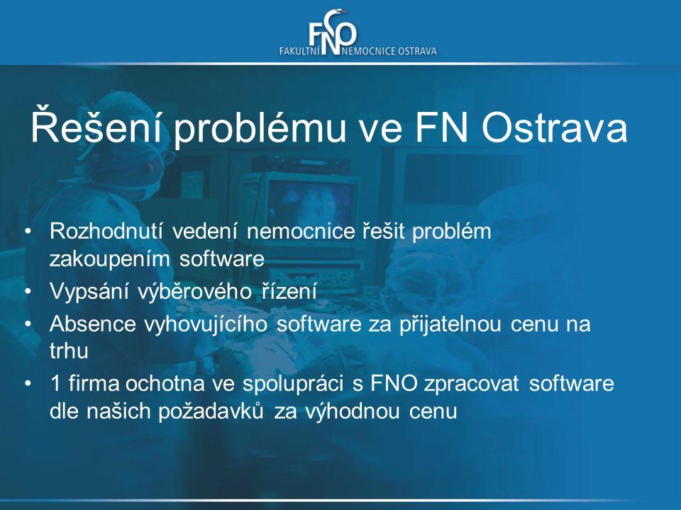 Řešení problému ve FN Ostrava Rozhodnutí vedení nemocnice řešit problém zakoupením software Vypsání výběrového řízení Absence vyhovujícího software za přijatelnou cenu na trhu 1 firma ochotna ve spolupráci s FNO zpracovat software dle našich požadavků za výhodnou cenu