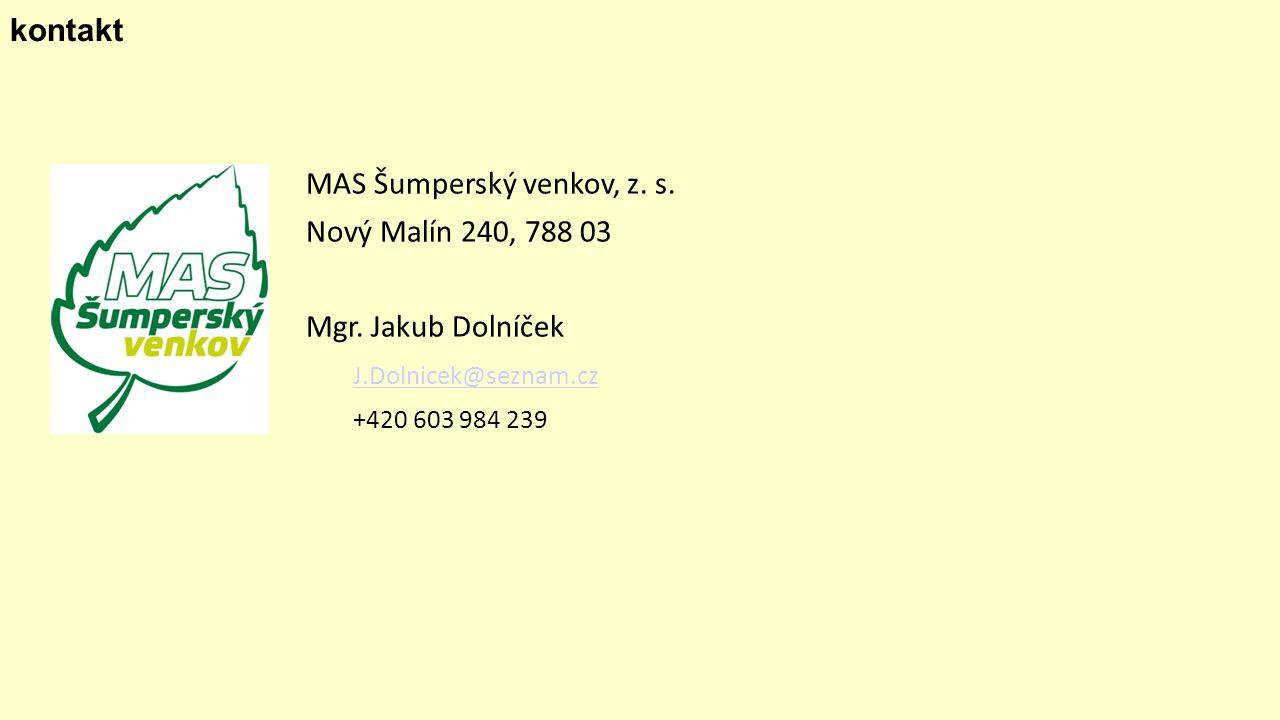 kontakt MAS Šumperský venkov, z. s. Nový Malín 240, 788 03 Mgr.