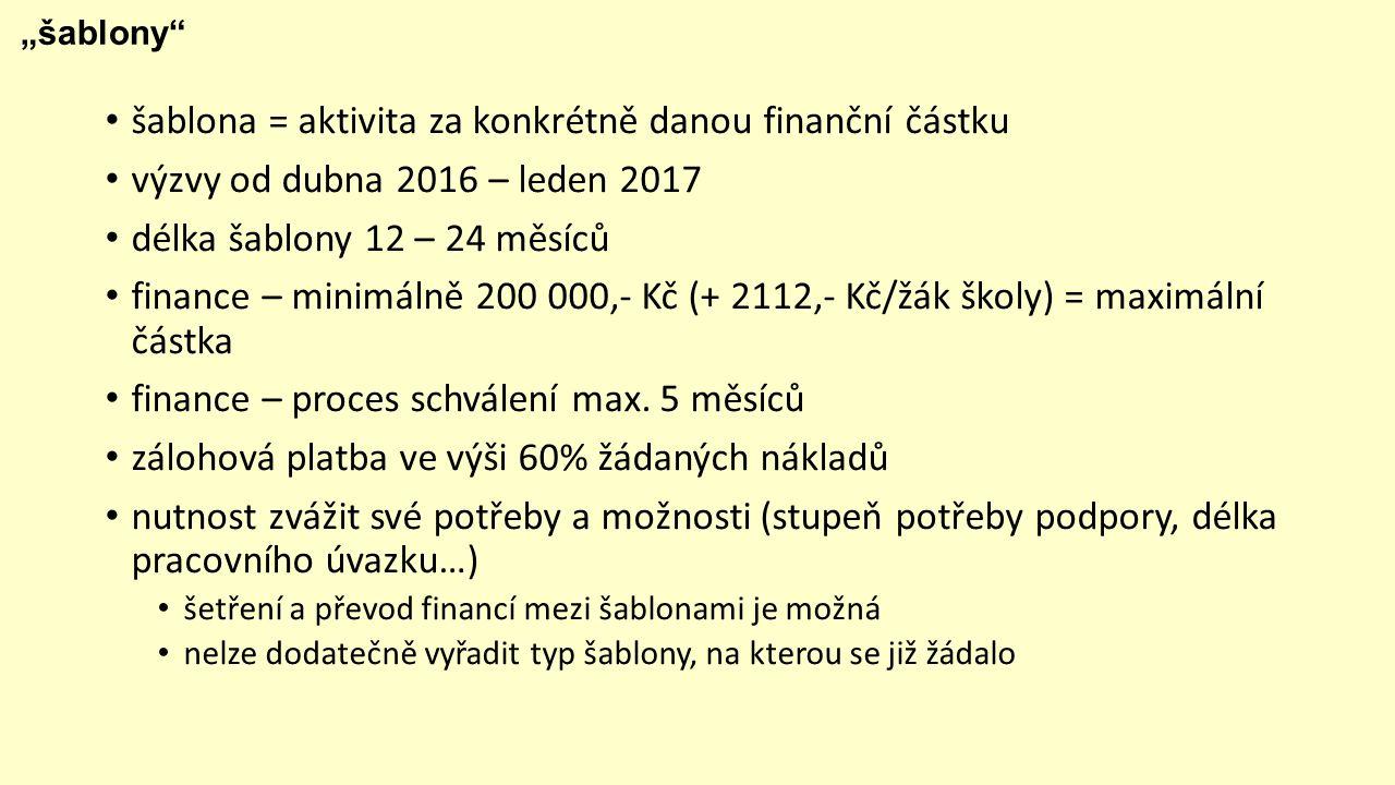 """""""šablony šablona = aktivita za konkrétně danou finanční částku výzvy od dubna 2016 – leden 2017 délka šablony 12 – 24 měsíců finance – minimálně 200 000,- Kč (+ 2112,- Kč/žák školy) = maximální částka finance – proces schválení max."""