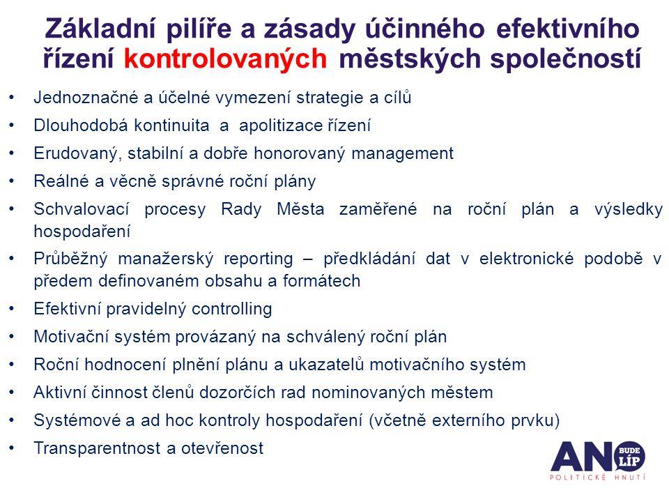 Jednoznačné a účelné vymezení strategie a cílů Dlouhodobá kontinuita a apolitizace řízení Erudovaný, stabilní a dobře honorovaný management Reálné a v