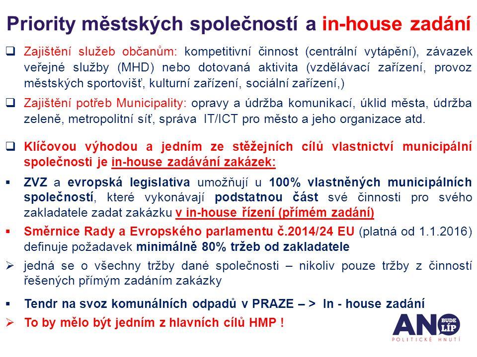 Priority městských společností a in-house zadání  Zajištění služeb občanům: kompetitivní činnost (centrální vytápění), závazek veřejné služby (MHD) n