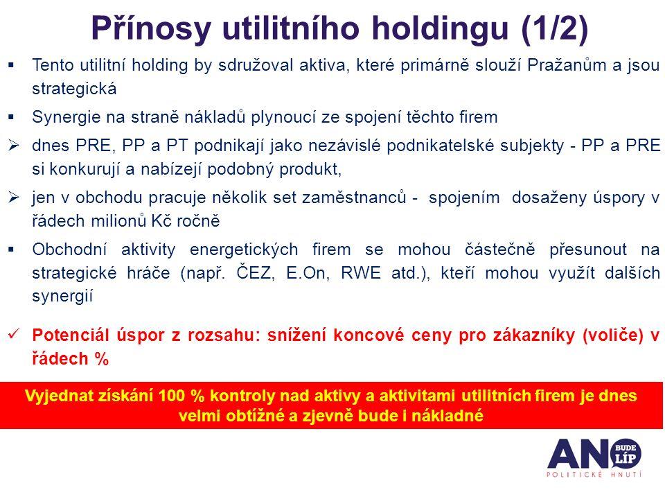 Přínosy utilitního holdingu (1/2)  Tento utilitní holding by sdružoval aktiva, které primárně slouží Pražanům a jsou strategická  Synergie na straně