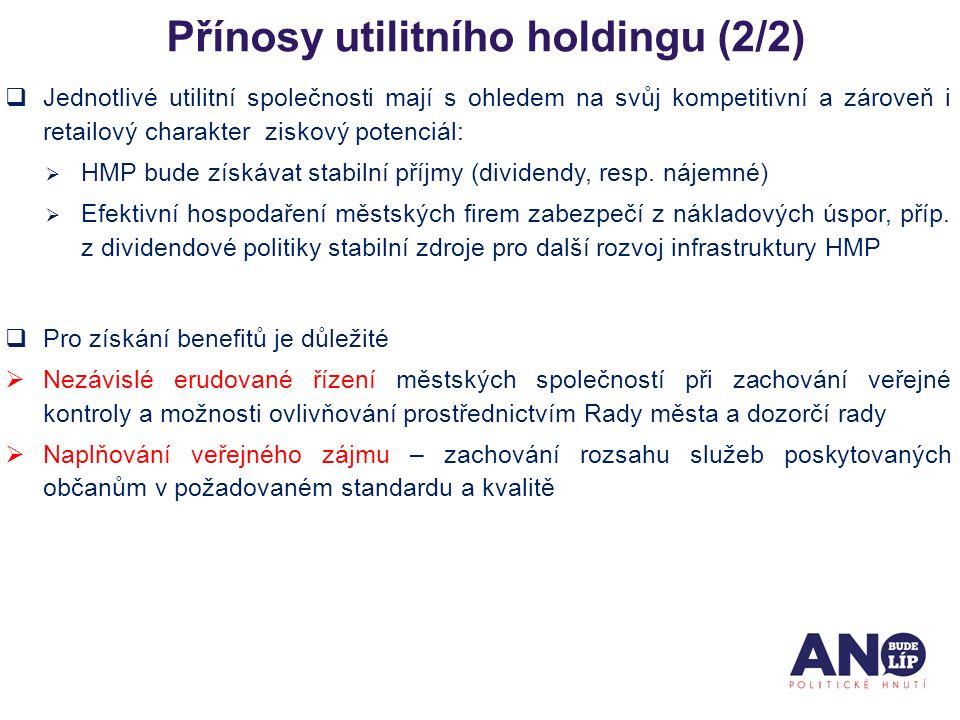 Přínosy utilitního holdingu (2/2)  Jednotlivé utilitní společnosti mají s ohledem na svůj kompetitivní a zároveň i retailový charakter ziskový potenciál:  HMP bude získávat stabilní příjmy (dividendy, resp.