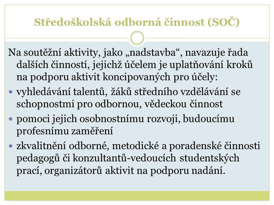 """Středoškolská odborná činnost (SOČ) Na soutěžní aktivity, jako """"nadstavba"""", navazuje řada dalších činností, jejichž účelem je uplatňování kroků na pod"""