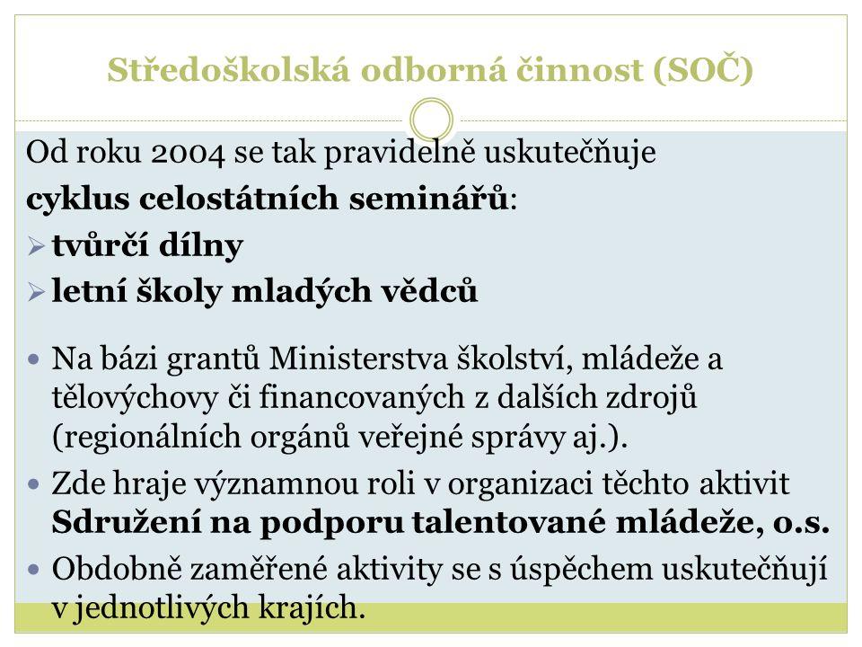 Středoškolská odborná činnost (SOČ) Od roku 2004 se tak pravidelně uskutečňuje cyklus celostátních seminářů:  tvůrčí dílny  letní školy mladých vědc