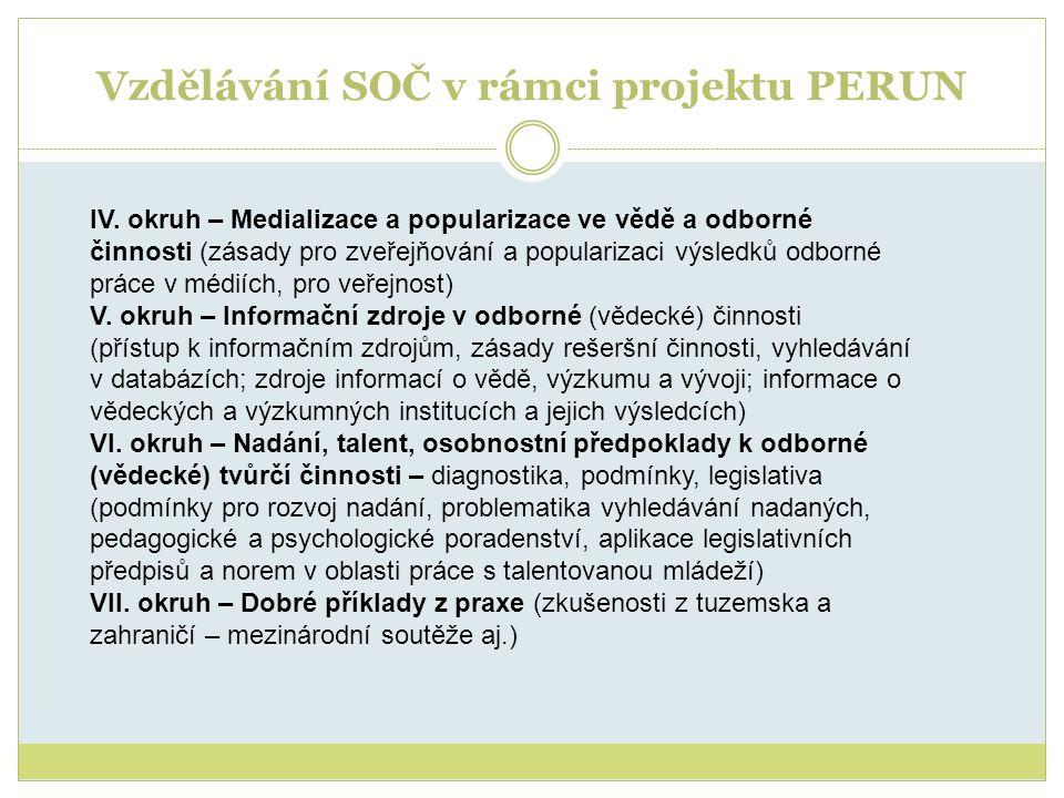 Vzdělávání SOČ v rámci projektu PERUN IV. okruh – Medializace a popularizace ve vědě a odborné činnosti (zásady pro zveřejňování a popularizaci výsled