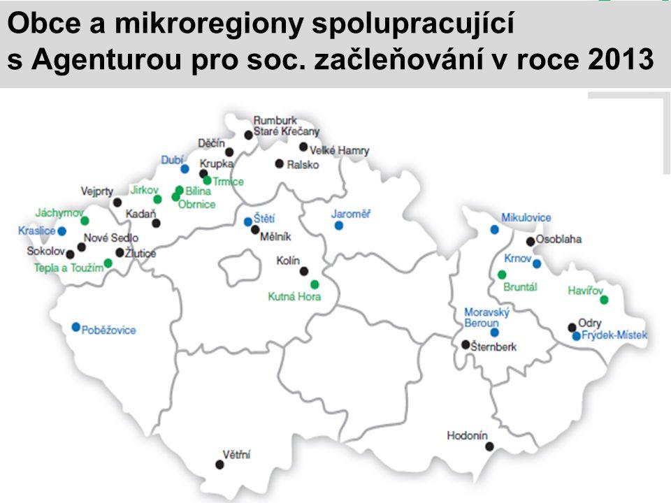 Obce a mikroregiony spolupracující s Agenturou pro soc. začleňování v roce 2013