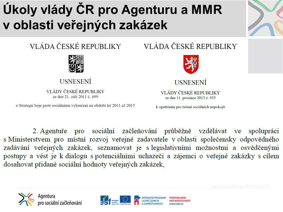 Úkoly vlády ČR pro Agenturu a MMR v oblasti veřejných zakázek